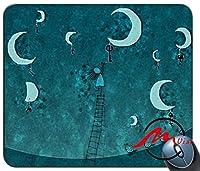ZMviseガールとムーンパターンカスタマイズされたファッション漫画マウスパッドマットカスタム四角形ゲームマウスパッド