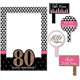 Chic 80th Birthday - Pink, Black and Gold - Birthday Party Photo Booth Picture Frame & Props - Printed on Sturdy Plastic Material