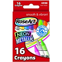 RoseArt 16-Color Neon/Metallic Crayons, Assorted Colors (CXW85) by Rose Art
