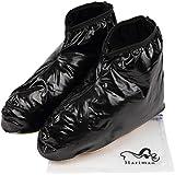 Harimao レイン シューズカバー 防水 靴カバー 男女兼用 防水ケース付き XXLサイズ 黒色