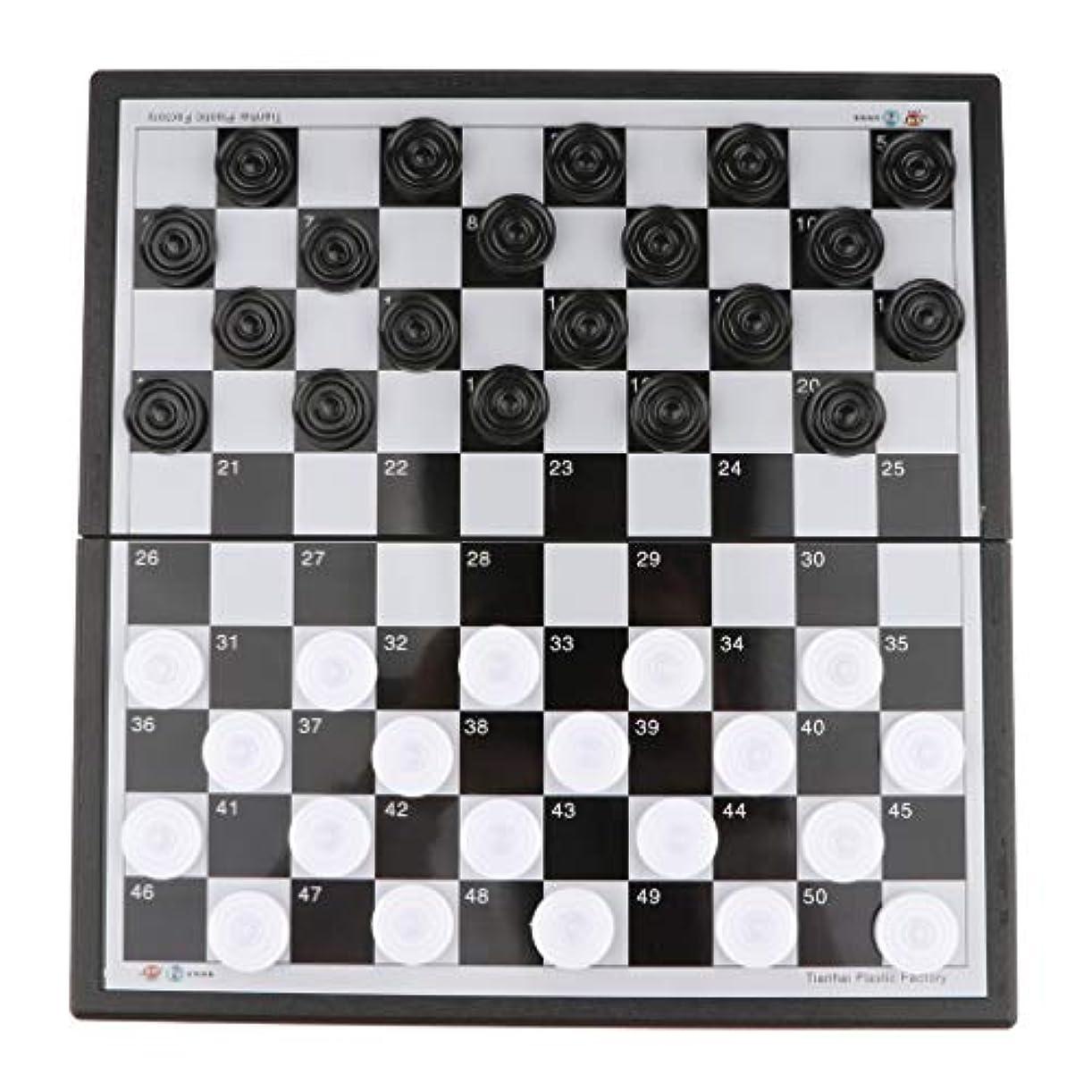 P Prettyia 国際チェス チェスセット 折りたたみ式 ドラフト マグネット ボードゲーム 知能開発