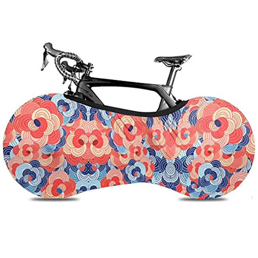 間欠巨大トリム自転車カバー 青赤花柄 和柄 和風 サイクルカバー 自転車収納カバー 自転車ホイールカバー 防風 防塵 Uvカット 破れにくい 厚手で丈夫 マウンテンバイク 伸縮性 屋内チェーンホイールプロテクター