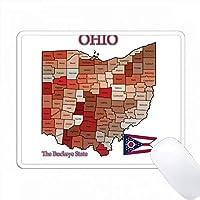 オハイオ州の地図、旗、ニックネーム、すべての郡が色分けされている PC Mouse Pad パソコン マウスパッド