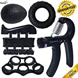 ProHand | Premium Quality Hand Grip Strengthener Exercise Set (5-in-1 pack) - Adjustable Resistance Hand Gripper 5-60 KG, Finger Exerciser, Finger Stretcher, Grip Ring and Squeeze Stress Ball - Optimises Hand Strengthening Workout - Hand Rehabilitation - Enhances Hand Flexibility - Relieves Joint Pain | ProHand 100% Money-Back Lifetime Guarantee