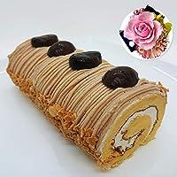 ギフト スイーツ 花 バラ カーネーション 神戸モンブランロールとプリザーブドフラワーコサージュセット ロールケーキ ピンク