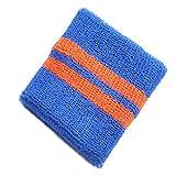 リストバンド 大人用 wristband-07-14.青ベースオレンジライン / スポーツ ダンス リストウォーマー