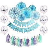 豪華28点 贅沢な誕生日 飾り付け HAPPY BIRTHDAY装飾 バースデーパーティー デコレーション ペーパーファン バースデー ガーランド デコレーション 風船 (ブルーセット) (szi-01)