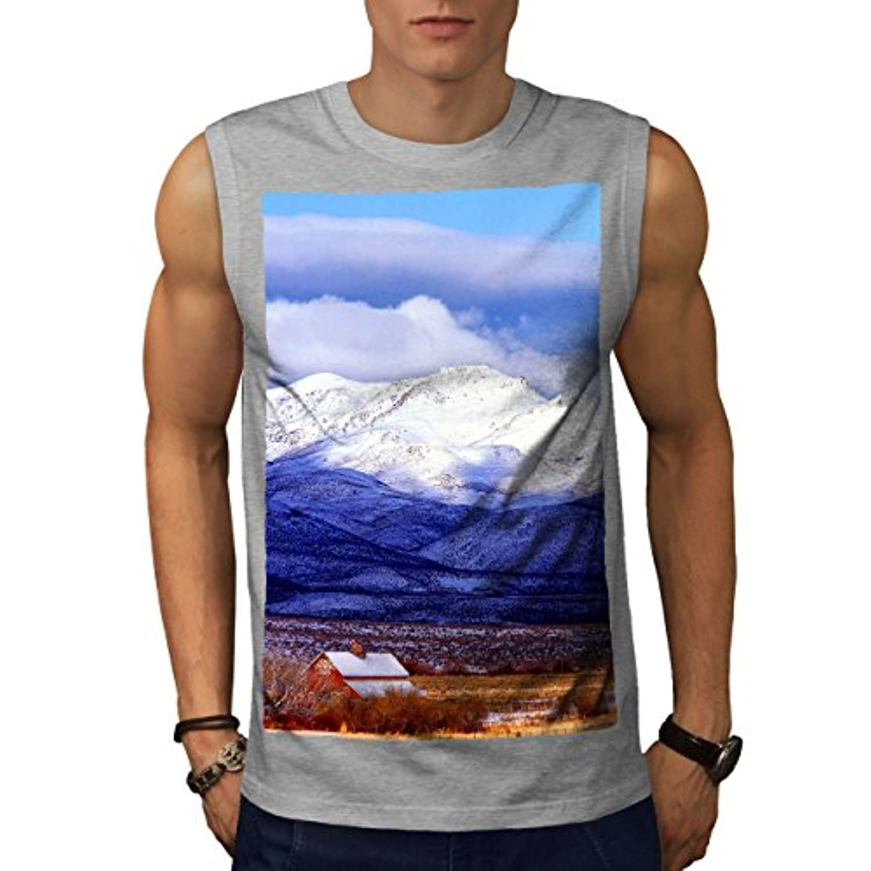 Wellcoda 冬 山 自然 男性用 S-5XL 袖なしTシャツ