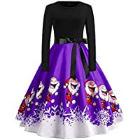 Heyean A-Line Dress for Women, Vintage Dresses, Xmas Dresses Women, Women's Dress Christmas Printed Lace Round Neck Long Sleeve Slim Fit Swing Formal Dress for Christmas