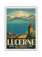 ルツェルンとその美しい湖、スイス - ビンテージな世界旅行のポスター によって作成された オットー・ランドルト c.1930s - アートポスター - 23cm x 31cm