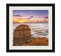 ブラック木製フレーム ホーム装飾ポスター 額入り絵画(使徒の海岸海メルボルンビクトリアオーストラリア)50x50cm