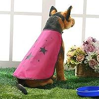 [実りの秋]レインコート 犬 ポンチョ 小型犬/中型犬 星柄 軽量 雨の日 お散歩 お出かけ 梅雨対策 防水 通気性 着脱簡単 雨具 雨合羽 かわいい オシャレ ペット用品 ライトレッド S