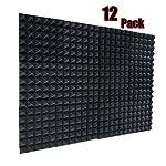 スーパーダッシュ 新しい12ピース 黒 300 x 300 x 50 mm ピラミッド 吸音材 防音 吸音材質ポリウレタン