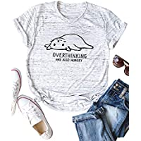 ZJP Women Short Sleeve Cat Print Tee Overthinking and Also Hungry T-Shirt Tops