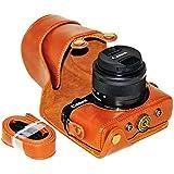 No1accessory XJPT-EOSM10-09 ブラウン Canon EOS-M10 with 15-45mm Lens 専用 防水 PU レザー 一眼レフ カメラバッグ カメラケース ハンドストラップ
