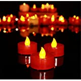 24 Pack LED Tea Lights Candles - Flickering Flameless Tealight Candle - Long Lasting Battery Operated Fake Candles - Decorati