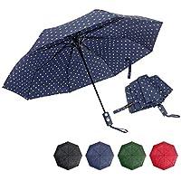 Folding Umbrella Polka Dot 8 Bones Auto Open for Girls Womens Windproof Waterproof,39 inch