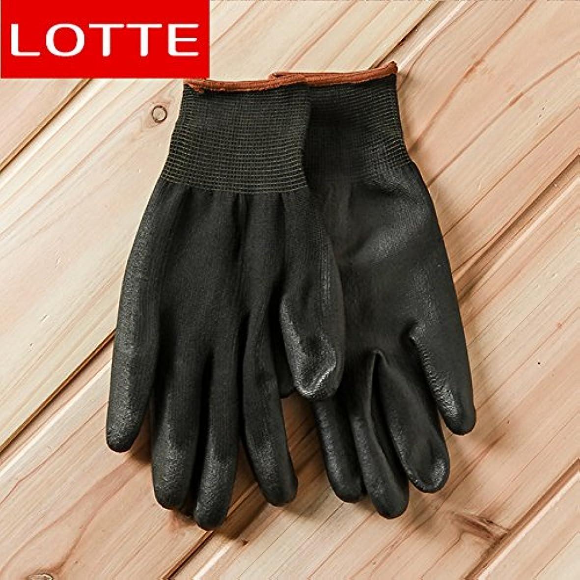 資産元気な感じるVBMDoM ロッテのPUパームコーティング作業手袋(黒/大) x 3つ [並行輸入品]