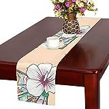 LKCDNG テーブルランナー カラフル 素敵 和風の扇子 クロス 食卓カバー 麻綿製 欧米 おしゃれ 16 Inch X 72 Inch (40cm X 182cm) キッチン ダイニング ホーム デコレーション モダン リビング 洗える