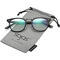 SojoS Square Reading Glasses Optical Frame Clear Lens Eyewear Eyeglasses for Men and Women SJ6005 With Matte Black Frame