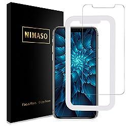 Nimaso iPhoneX 用 強化ガラス液晶保護フィルム 【日本製素材旭硝子製】ガイド枠付き 3D Touch対応 業界最高硬度9H 透過率99.9% ( iPhone X , 1枚セット )