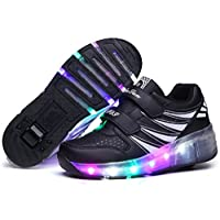 MAXYOYO LED靴 ローラーシューズ ローラー靴 LEDスニーカー 光る靴 発光靴 LEDライト付き 子供/大人共用 男女兼用 単輪タイプローラーシューズ シューズ