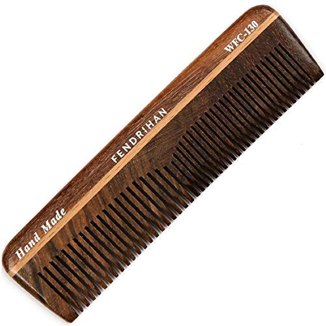 爆発領収書送信するFendrihan Wooden Double-Tooth Pocket Barber Grooming Comb (5.1 Inches) [並行輸入品]
