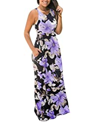SakuraBest Women Sleeveless Floral Print Maxi Long Dress with Pockets (M, Purple)