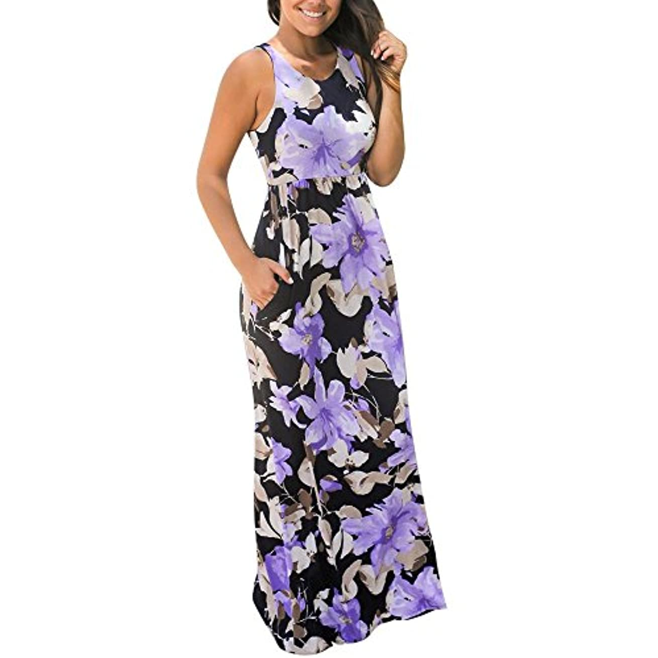 レンチモルヒネ単調なSakuraBest Women Sleeveless Floral Print Maxi Long Dress with Pockets (M, Purple)