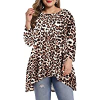LARACE Womens Plus Size 3/4 Sleeve Loose Fit Flare Swing Tunic Tops Basic T Shirt