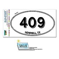 409 - ヘンフィル, TX - テキサス州 - 楕円形市外局番ステッカー