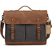 Vaschy Casual Genuine Leather Canvas Messenger Bag 15.6 inch Laptop Shoulder Bag Bookbag