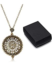 HooAMI Filigree Magnifier Magnifying Glass Sliding Top Magnet Pendant Necklace