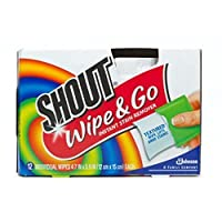 4 X Shout Wipe & Go, Portable Stain Treater Towelettes 12 ea (5 X 6 inches each) by Shout