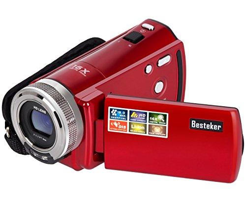 ビデオカメラ Besteker ポータブルデジタルビデオカメラ HD最大1600万画素 1280*720P DV 2.7インチTFT LCDスクリーン 270度回転 16倍ズームレンズカメラ SDカード(最大32GB) ビデオレコーダー 入門用カメラ 日本語説明書付き(108) (レッド)