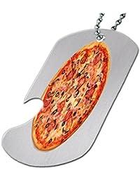 マッシュルームPepperoni Pizza – ボトルOpener犬タグネックレス