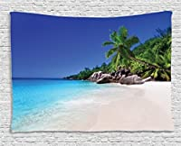 "Ambesonne Seaside Decorコレクション、ロマンチックビーチTranquilシーンPalm Trees Caribbean Island Nature写真、寮寝室リビングルーム壁吊りタペストリー、60W x 40lインチ 60"" W By 40"" L wid_10352_60x40"