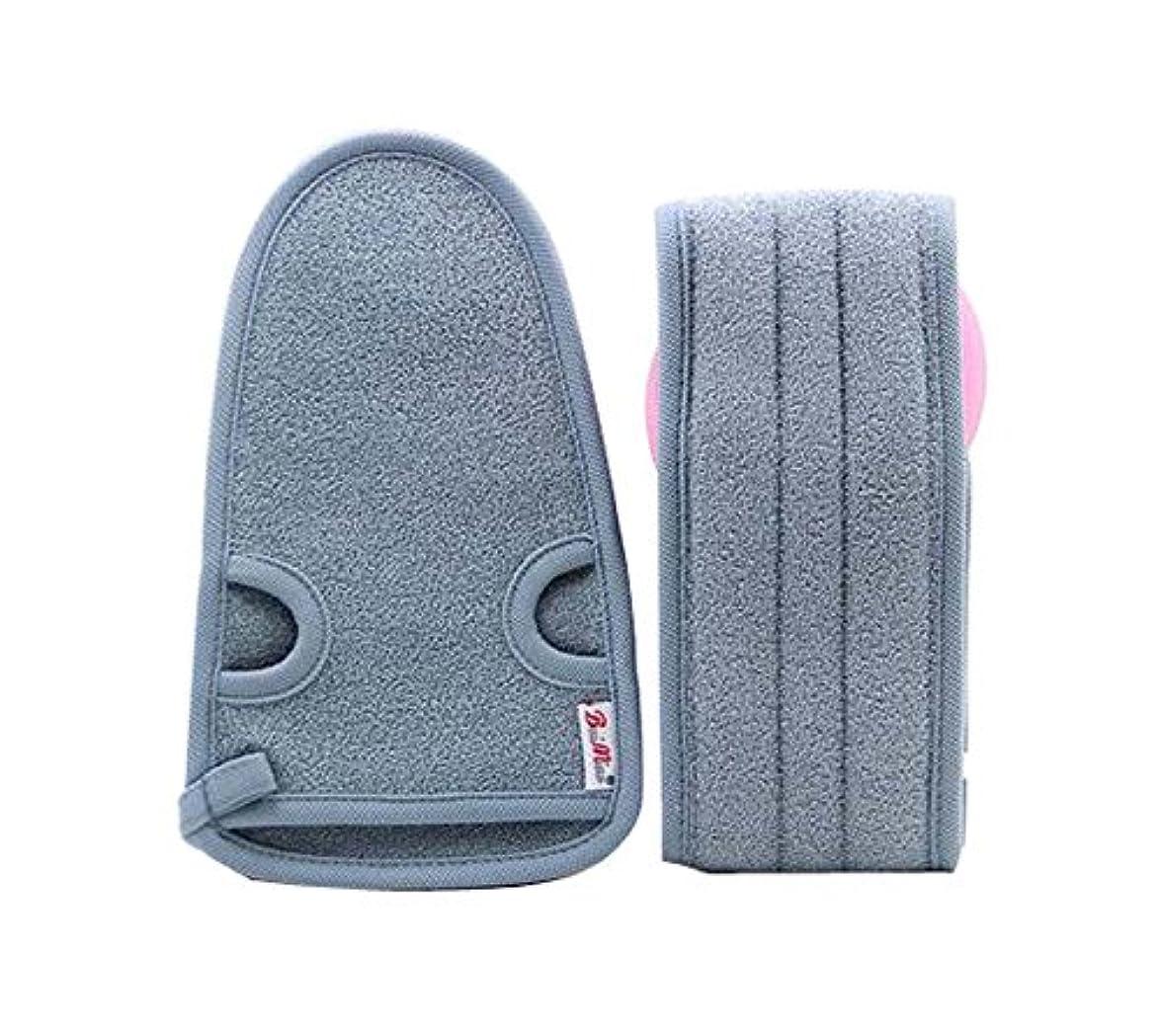 窒素絡まる上記の頭と肩男性のための実用的な柔らかい浴室の手袋の角質除去、2つの灰色