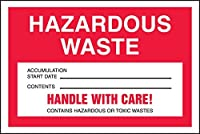Accuform Signs MHZW15PSC Adhesive Coated Paper Hazardous Waste Label Legend HAZARDOUS WASTE - ACCUMULATION START DATE - CONTENTS - HANDLE WITH CARE! CONTAINS HAZARDOUS OR TOXIC WASTES 4 Length x 6 Width Red/Black/White (Pack of 100) [並行輸入品]