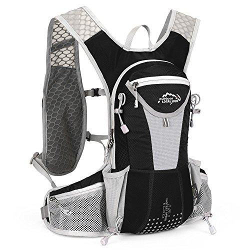 SIJIYIREN ハイドレーションバッグ ランニングバッグ サイクリングバッグ 自転車バックパック リュック 12L 全10色 (ブラック/グレー)