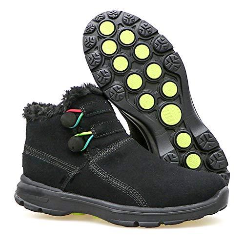 [MUMEOMU] スノーブーツ 綿靴 裏起毛 雪靴 カジュアル ハイカット ウインターブーツ アウトドア 保温 防水 防寒 防滑 ファー付き 女 冬 レディース ブラック 25cm