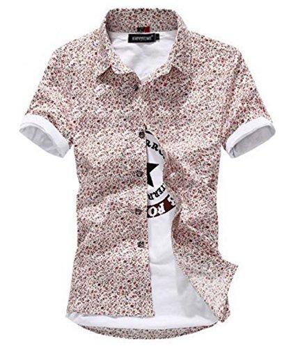 (ベクー)メンズ 花柄 シャツ 半袖 総柄 ワイシャツ 柄物 カッターシャツ (XXL, 半袖 ピンク)