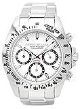 [ダニエル・ミューラー]DANIEL MULLER 腕時計 クロノグラフ メンズウォッチ DM-2003WH シルバー×ホワイト メンズ