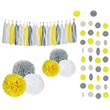 Sopeace Birthday Party Decorations 28pcs Party Decors and Supplies Set includes Happy Birthday Banner Paper Tassels Pompoms and Garland Stars - Perfect for Birthdays Weddings (White Yellow Grey) [並行輸入品]