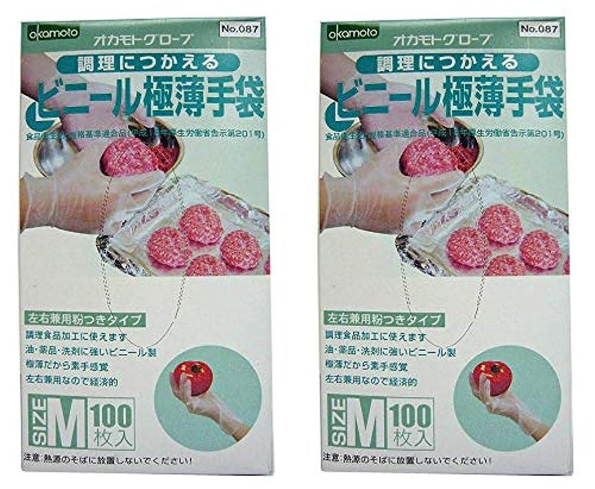欠如おしゃれな定期的調理につかえるビニール極薄手袋 Mサイズ 200枚 (100枚入 ×2セット)