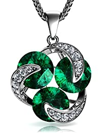 DEPHINI - Green Necklace   925 Sterling Silver Necklace   Emerald 100% Swarovski® Branded Crystal   Cubic Zirconia Crystals   Fine Jewellery   Friendship Pendant   Gift for Women/Gifts for Her