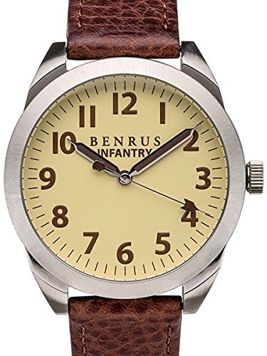 Benrusメンズbr021-d Infantry Watch with Brownレザーバンド
