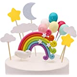 Palksky Colorful Rainbow Cake Topper/Wedding Cake Flags/Cupcake Picks Set -Include Cloud Balloon Moon Stars/Boy Girl Kid Birt