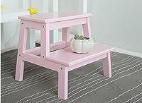 木製ソリッド2ステップスツールウッドスツールベンチシューズバスルームスツール (色 : ピンク ぴんく, サイズ さいず : L l)