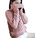 (プレシャスセレクト)Precious select 秋冬 レディース セーター タートルネック トップス ニット ざっくり ケーブル編み ゆるかわ ゆるあったか 選べる3色 フリーサイズ ピンク free